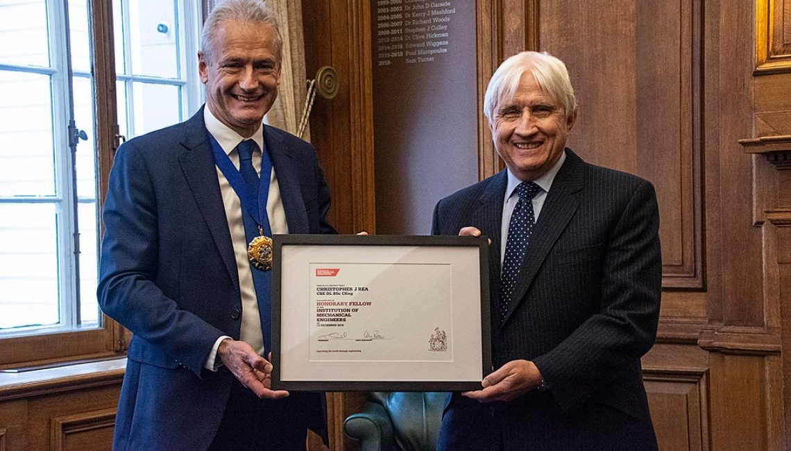 IMechE President Terry Spall (L) with AESSEAL MD Chris Rea Photo by Lynda Bailey